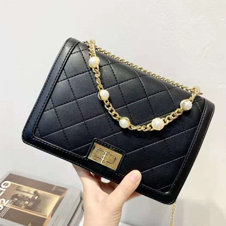 black bag with gold chain